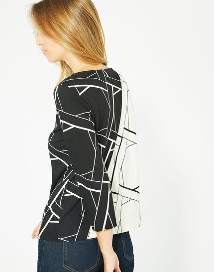 Tee-shirt noir et blanc imprimé Losange Bis (5) - 1-2-3