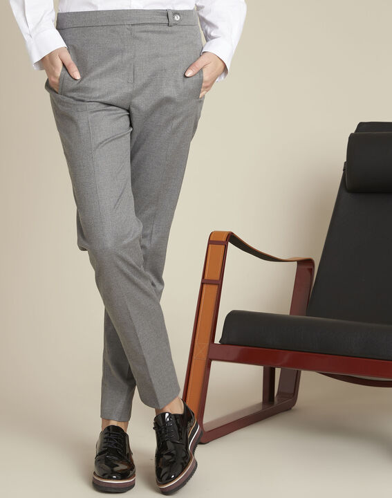 Pantalon cigarette gris zippé en viscose Lara PhotoZ | 1-2-3