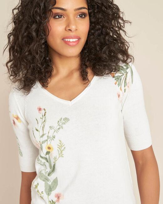 Weißer Pullover mit Blumenprint Nouette (2) - 1-2-3