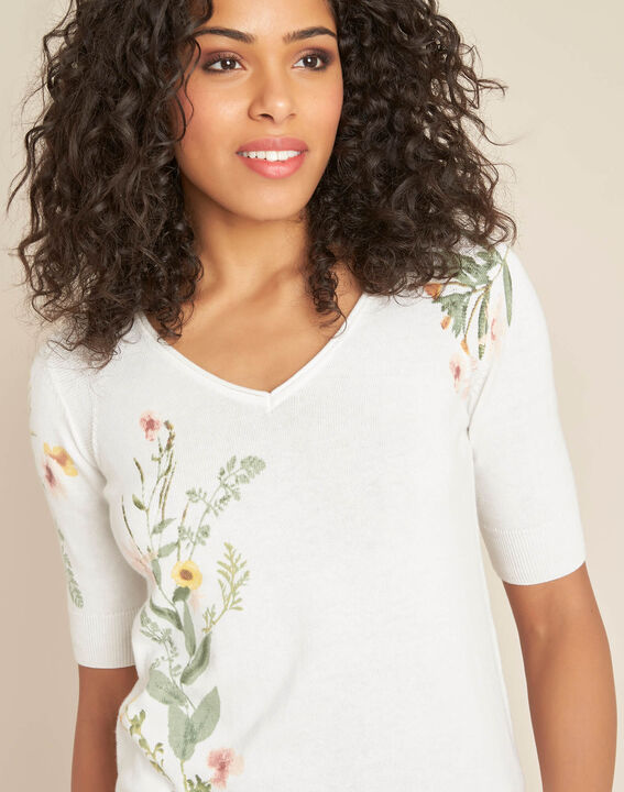 Nouette white floral print sweater PhotoZ | 1-2-3
