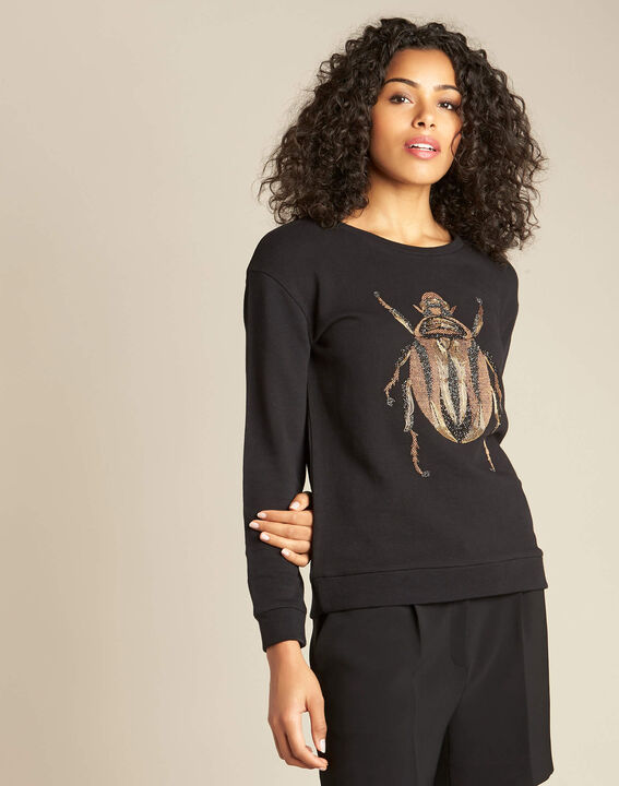 Barney black cotton T-Shirt with scarab embroidery (3) - 1-2-3