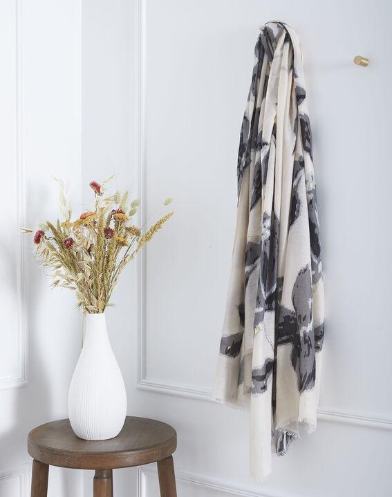 Foulard crème imprimé fleuri Orphee (1) - Maison 123