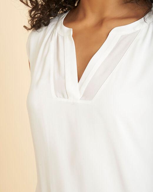 Tee-shirt écru bimatière manches courtes col résille Bianca (1) - 1-2-3