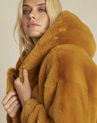 Manteau jaune fausse fourrure capuche elveta ocre.
