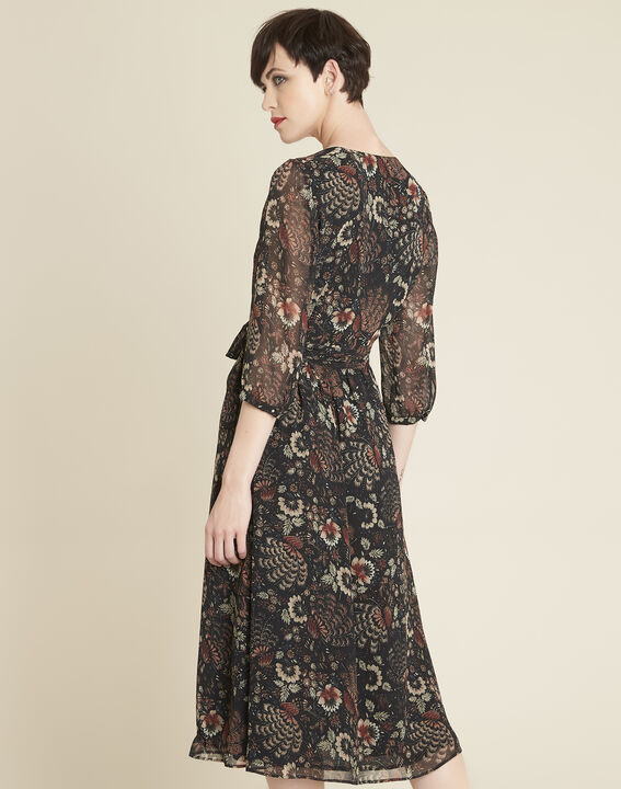 Damaris black wrap-over dress with floral print (4) - 1-2-3