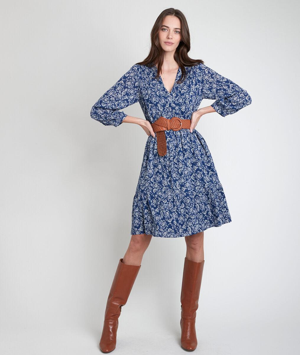 Marineblaues Kleid mit Blumenprint Lou  PhotoZ | 1-2-3