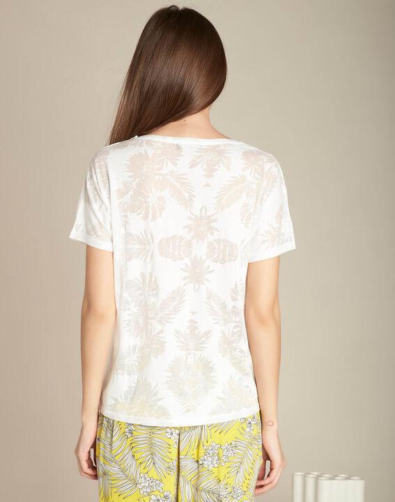 Ecrufarbenes T-Shirt mit Palmenprint Eflore (4) - 1-2-3
