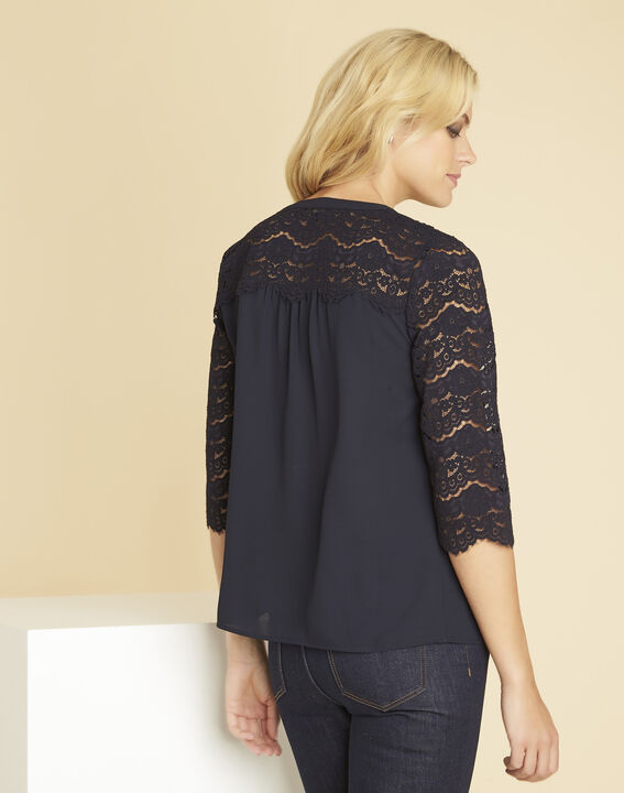 Colette navy blue blouse with lace insert (4) - 1-2-3