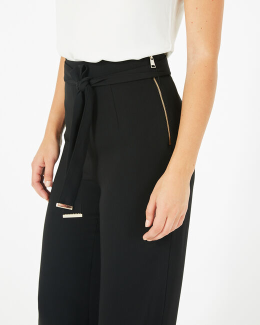 Pantalon noir de tailleur fluide avec ceinture Voyou (2) - 1-2-3