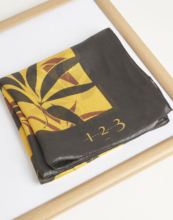 Aurelie caramel square silk scarf with leaf print (2) - 1-2-3