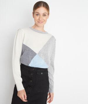 Pull gris en cachemire au jacquard géométrique Triangle