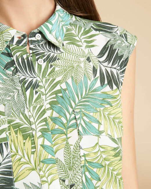 Galion sleeveless shirt with green palm print (2) - 1-2-3