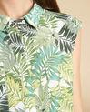 Ärmellose grüne Hemdbluse mit Palmenmotiv Galion (1) - 1-2-3