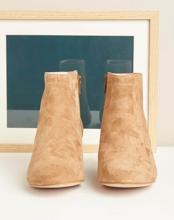Bottines à talon camel bimatière Kendal (3) - 1-2-3