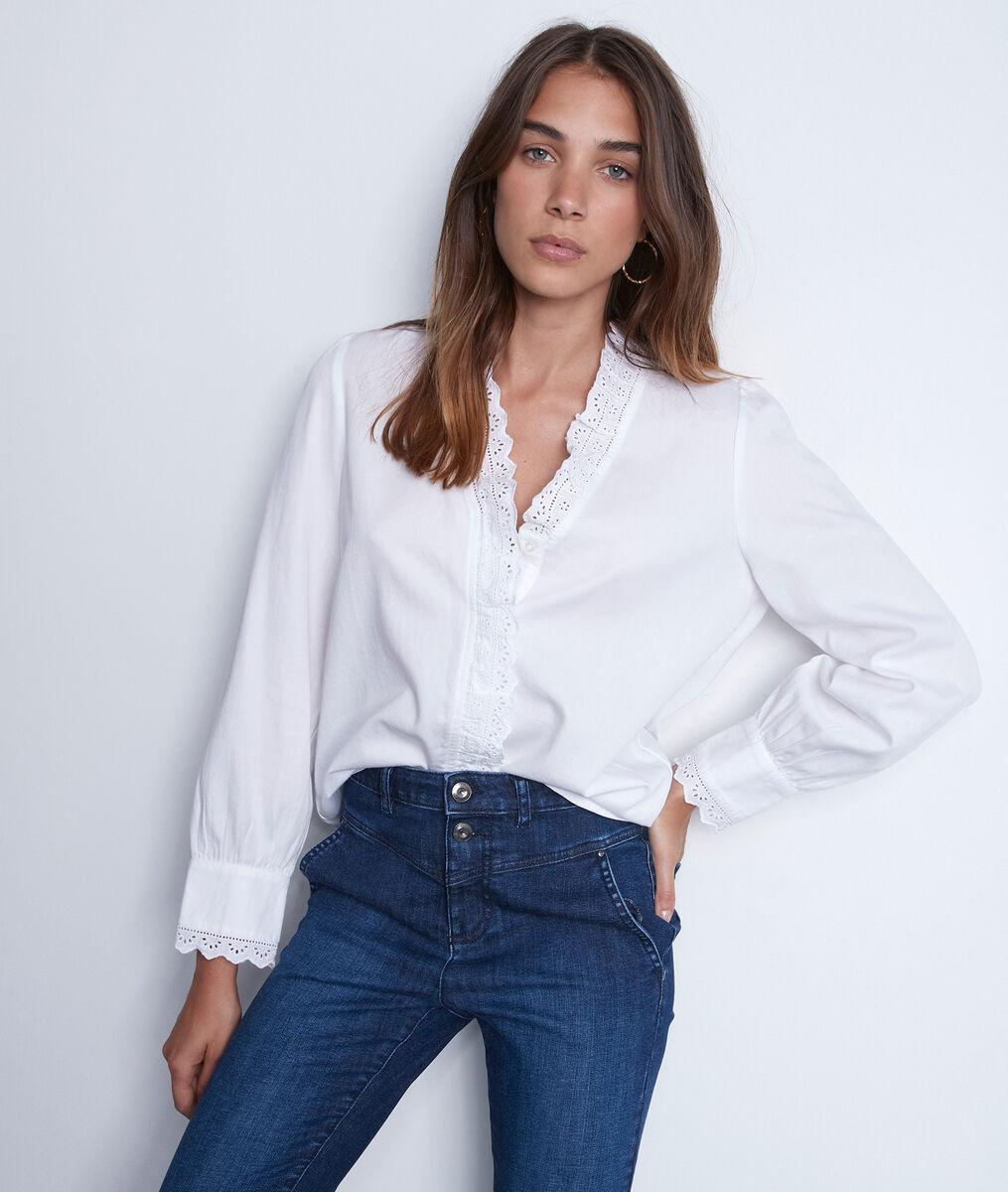 Romantisch hemd van wit katoen met borduurwerk PhotoZ | 1-2-3
