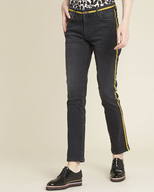Vivienne yellow straight-cut jeans with side strip (2) - 1-2-3