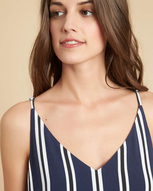 Pepin navy blue striped dress with fine straps (2) - 1-2-3