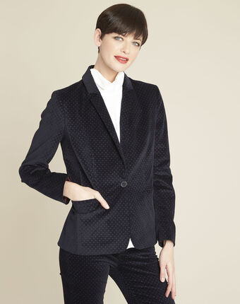Demoiselle navy velvet polka dot jacket royal blue.