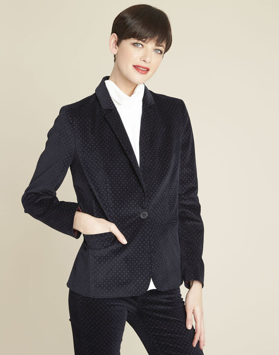 Demoiselle navy velvet polka dot jacket PhotoZ | 1-2-3