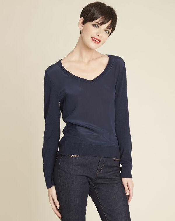 Marineblauwe trui met V-hals van katoen en zijde Bliss (1) - 37653