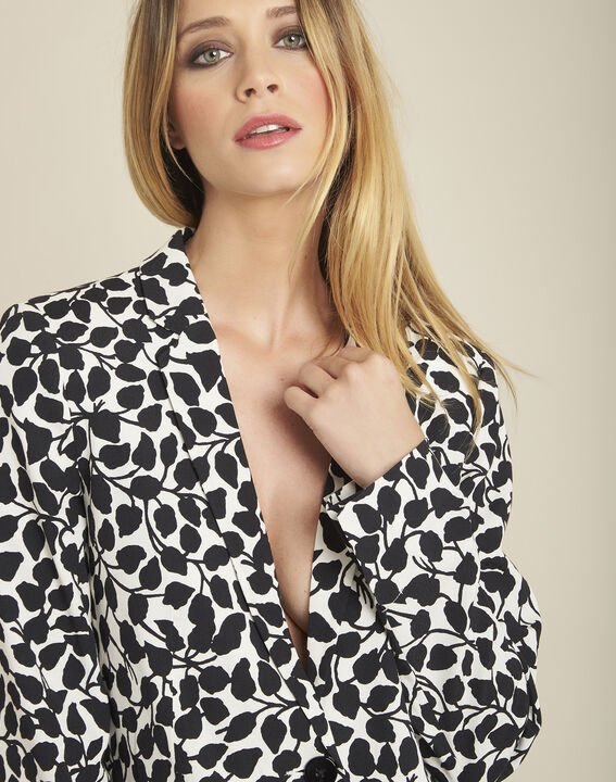 Printed black and white leaf print jacket (3) - 1-2-3