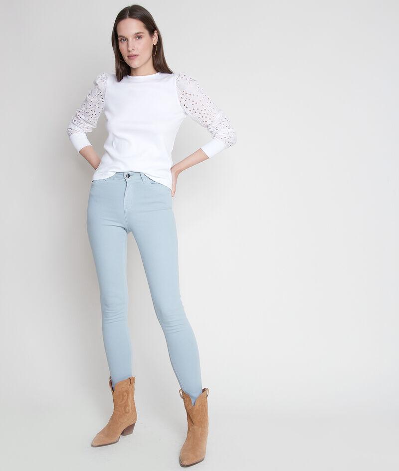 Tee-shirt en coton blanc et à manches brodées Elodie PhotoZ | 1-2-3