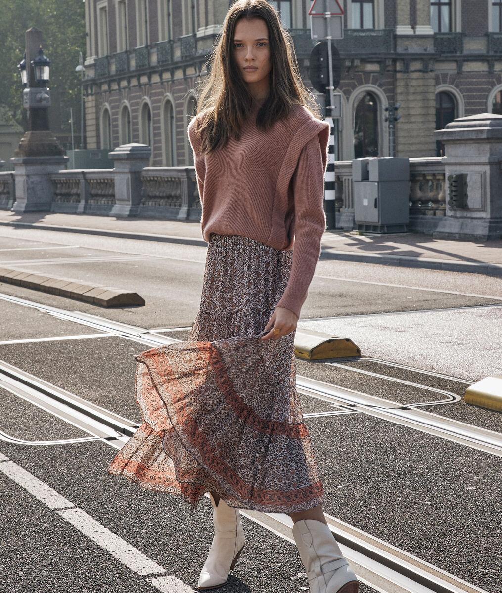 Jupe longue et vaporeuse imprimée rose Fabienne PhotoZ   1-2-3