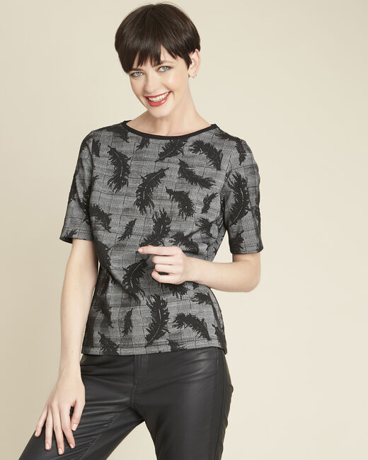 Grace grey blouse with feather print (1) - 1-2-3