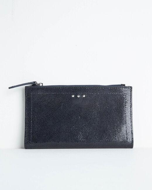 Schwarzes Leder-Portemonnaie mit zwei Klappen Dita (1) - 1-2-3