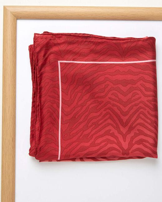 Carré de soie imprimé peau de bête rouge Anouk (1) - 1-2-3