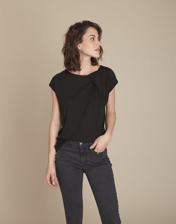Tee-shirt noir encolure drapée Caline PhotoZ | 1-2-3