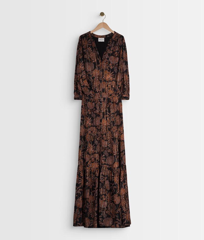 Robe chemise longue imprimée noire et orange Laly PhotoZ   1-2-3