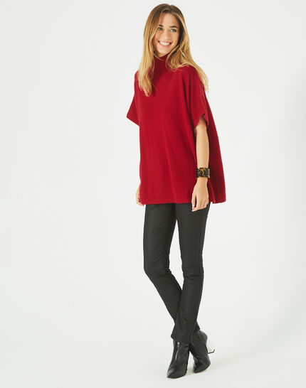Passiflore Red cashmere cape with polo neck PhotoZ | 1-2-3