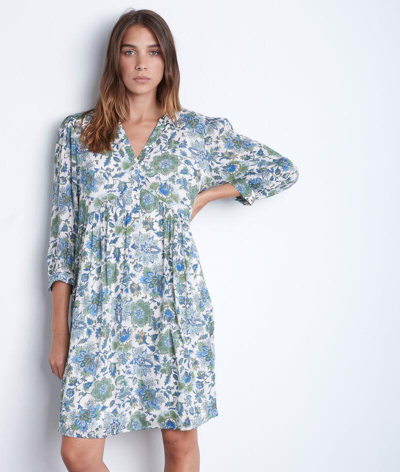 Robe courte et légère à l'imprimé fleuri bleu Calypso PhotoZ   1-2-3
