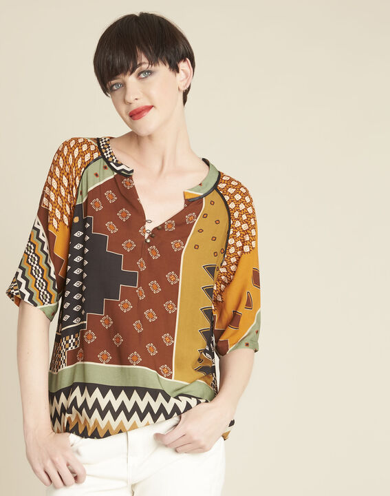 Casbah ethnic print patchwork blouse PhotoZ | 1-2-3
