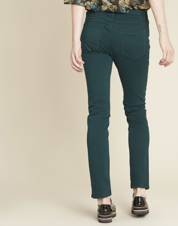 Germain dark green straight-cut jeans with zipped pockets (4) - Maison 123