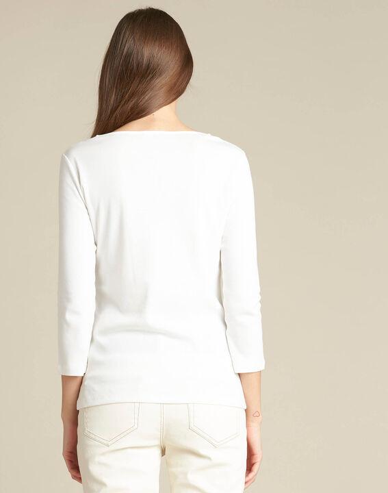 Ecrufarbenes T-Shirt mit Ösen Basic (4) - 1-2-3