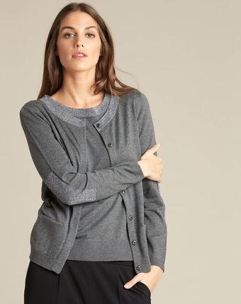 Nathalie grey cardigan in a cotton mix with shiny neckline mid chine.