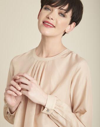 Ecru blouse van zijde en katoen carlota primerose.