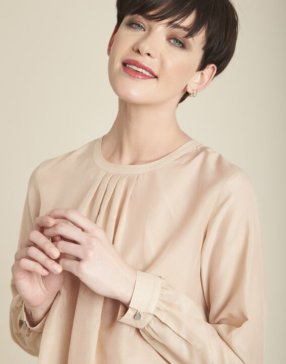 Carlota ecru silk and cotton blouse (2) - 1-2-3