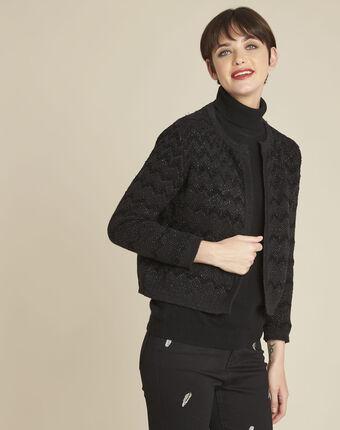 Zwart vest van decoratief tricot bamel noir.