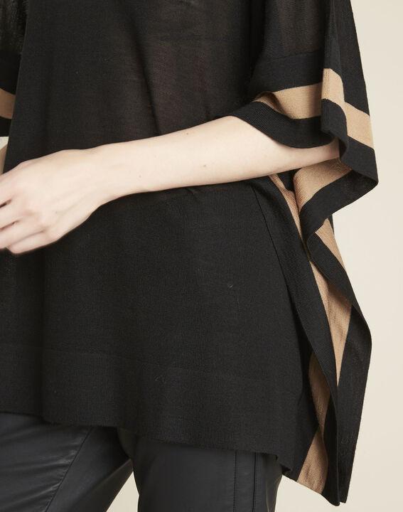 Poncho noir en laine mélangée Bettina (3) - 1-2-3