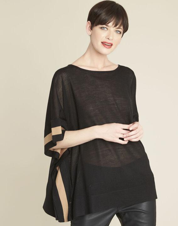 Poncho noir en laine mélangée bettina