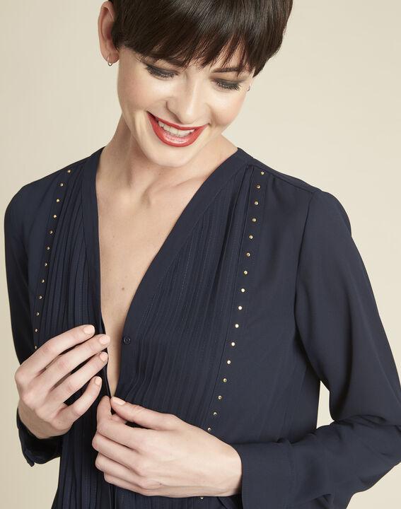 Marineblauwe blouse met fantasiehals Camelia (3) - 37653
