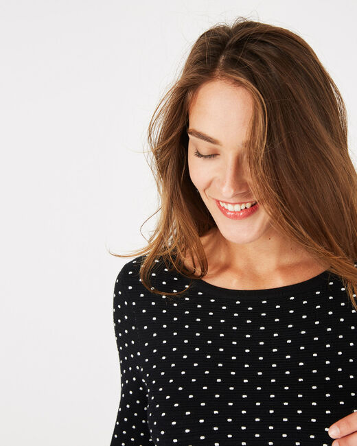 Pastille black sweater with polka dots (2) - 1-2-3