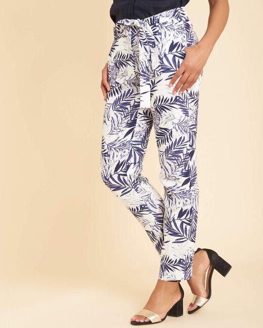 Marineblaue Zigaretten-Hose aus Leinen mit Palmenprint Jill (2) - 1-2-3