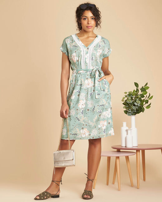 Prisme almond dress with floral print and lace (1) - 1-2-3