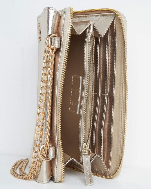 Goldene Umhängetasche mit Kette aus genarbtem Leder Darling (2) - 1-2-3