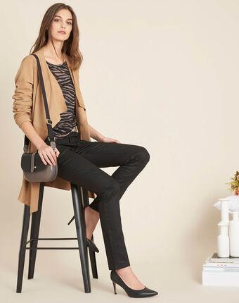 Valley 7/8 length black slim-cut coated jeans black.