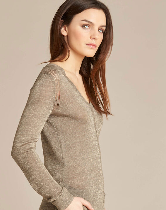 Khakifarbener glänzender Pullover mit Ajour-Streifen Noisetier (1) - 1-2-3